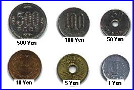 picture of coins in Japan There are 6 types of coins in Japan.