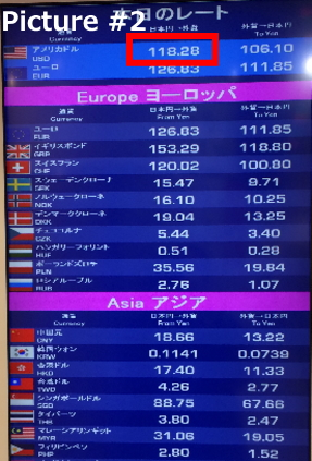 a picture of the exchange rate at Travelex shop. The marked number is applicable for selling Japanese Yen.